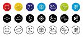 Weather Color Icons Set Isolated On White Background. Weather Storm Illustration Sun Rain Symbol Wea poster