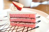 Homemade Strawberry Yogurt Cake Decorated With Fresh Fruits. Delicious And Sweet Pink Strawberry Cak poster