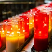 Candles In A Church. This Type Of Candles, Votive Candles, Or Prayer Candles, Can Be Typically Bough poster