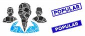 Mosaic Customers Icon And Rectangular Popular Rubber Prints. Flat Vector Customers Mosaic Pictogram  poster