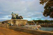 Copenhagen, Denmark: Gefion Fountain In Gefjun Turned Her Four Sons Into Oxen poster