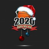 Happy New Year 2020. Basketball Logo Template Design. Basketball Ball In Santa Hat. Pattern For Bann poster