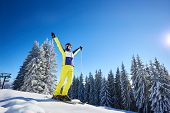 Low Angle View Of Rejoicing Young Woman On Skis With Hands Up With Ski Poles. Wooded Snow-covered Sl poster