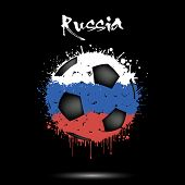 Abstract Soccer Ball Painted In The Colors Of The Russia Flag. Flag Of Russia In The Form Of A Socce poster