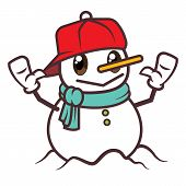 Merry Christmas. Cartoon Cute Snowman Character Waving Hands Isolated. - Vector Character Mascot poster