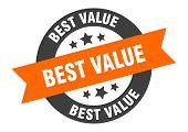 Best Value Sign. Best Value Orange-black Round Ribbon Sticker poster