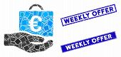 Mosaic Euro Accounting Service Icon And Rectangle Weekly Offer Seal Stamps. Flat Vector Euro Account poster