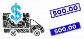 Mosaic Transportation Costs Icon And Rectangular 500.00 Seal Stamps. Flat Vector Transportation Cost poster