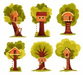 Set Of Tree House. Children Playground With Swing And Ladder. Flat Style Vector Illustration. Tree H poster