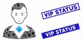 Mosaic Man Pictogram And Rectangle Vip Status Rubber Prints. Flat Vector Man Mosaic Pictogram Of Ran poster