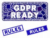 Mosaic Gdpr Ready Rounded Rectangle Pictogram And Rectangular Rules Seals. Flat Vector Gdpr Ready Ro poster