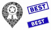 Mosaic Award Seal Marker Pictogram And Rectangle Best Rubber Prints. Flat Vector Award Seal Marker M poster