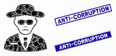 Mosaic Security Agent Pictogram And Rectangular Anti-corruption Seals. Flat Vector Security Agent Mo poster