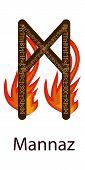 Rune Mannaz. Vertical Projection. Scandinavian. Runes Element Of Fire, The Flame Around The Runes poster