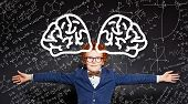 Happy Kid Embracing On Blackboard Background With Science Formulas And Brain Pattern poster