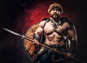 Serious Viking Clad In Light Armor With A Shield Behind His Back Holds A Spear. Posing On A Dark Bac poster