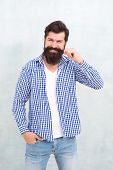 Bearded And Happy. Man Bearded Hipster Stylish Beard. Barber Tips Maintain Beard. Stylish Beard And  poster