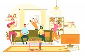Home Gaming Party For Friends Flat Vector Concept. Happy, Excited Young Man And Woman Celebrating Vi poster
