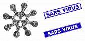 Mosaic Virus Icon And Rectangular Sars Virus Stamps. Flat Vector Virus Mosaic Pictogram Of Randomize poster