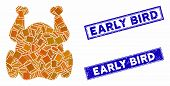 Mosaic Chicken Icon And Rectangle Early Bird Rubber Prints. Flat Vector Chicken Mosaic Icon Of Scatt poster