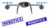 Mosaic Airdrone Pictogram And Rectangular Robotics Seal Stamps. Flat Vector Airdrone Mosaic Pictogra poster