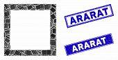 Mosaic Contour Square Icon And Rectangular Ararat Seal Stamps. Flat Vector Contour Square Mosaic Pic poster