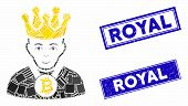 Mosaic Bitcoin King Icon And Rectangle Royal Watermarks. Flat Vector Bitcoin King Mosaic Icon Of Sca poster