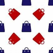 Blue And Red Handbag Icon Isolated Seamless Pattern On White Background. Shoping Bag Sign. Woman Bag poster