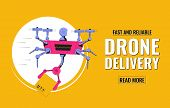 Delivery Service Concept. Flying Drone Holding Box. Air Delivery. Delivery Drone With Cargo. Vector poster