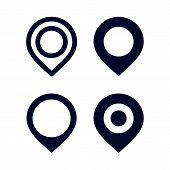 Set Of Pin Location Vector, Location Pin Icon Vector On White Background. Map Point Icon, Navigation poster