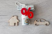 Wooden car and house model with percent sign. The concept of low interest rates on mortgage loans or poster