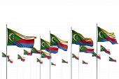 Cute Day Of Flag 3d Illustration  - Comoros Isolated Flags Placed In Row With Soft Focus And Place F poster
