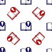 Blue And Red Interesting Facts Icon Isolated Seamless Pattern On White Background. Book Or Article A poster