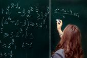 Close Up Of Math Formulas On A Blackboard poster