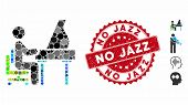 Mosaic Grand Piano Performer Icon And Corroded Stamp Seal With No Jazz Phrase. Mosaic Vector Is Crea poster