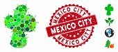 Mosaic Cacti Icon And Distressed Stamp Watermark With Mexico City Caption. Mosaic Vector Is Composed poster
