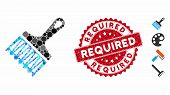 Mosaic Wide Brush Icon And Rubber Stamp Seal With Required Text. Mosaic Vector Is Formed With Wide B poster