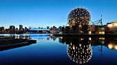 stock photo of geodesic  - Vancouver Science World and BC Stadium at night - JPG