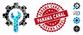 Mosaic Service Tools Icon And Corroded Stamp Seal With Panama Canal Caption. Mosaic Vector Is Formed poster