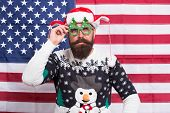 Have Red White And Blue Christmas. Santa On American Flag Background. Bearded American Man Celebrate poster