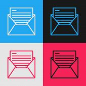 Color Line Mail And E-mail Icon Isolated On Color Background. Envelope Symbol E-mail. Email Message  poster