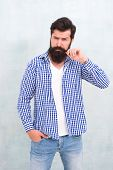 Attractiveness Concept. Masculinity And Male Beauty. Hipster With Beard And Mustache Wear Shirt. Wel poster
