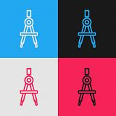 Color Line Drawing Compass Icon Isolated On Color Background. Compasses Sign. Drawing And Educationa poster