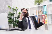 Modern Life. Manager Sing Karaoke Using Coffee Cup. Bearded Man Enjoy Modern Music Playing In Headph poster