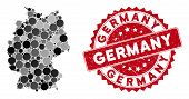 Mosaic Germany Map And Circle Stamp. Flat Vector Germany Map Mosaic Of Randomized Circle Elements. R poster
