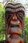 foto of tiki  - Tiki Wood Carving in the Beautiful Kula Botanical Garden Kula Maui Hawaii - JPG