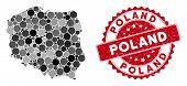 Mosaic Poland Map And Circle Stamp. Flat Vector Poland Map Mosaic Of Randomized Circle Items. Red St poster