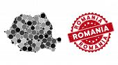 Mosaic Romania Map And Circle Watermark. Flat Vector Romania Map Mosaic Of Randomized Circle Items.  poster