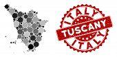 Mosaic Tuscany Region Map And Circle Stamp. Flat Vector Tuscany Region Map Mosaic Of Scattered Circl poster