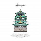 Osaka Castle Vector. Asian Building Or Castle Icon. Japan Castle. Color Symbol On White Background poster